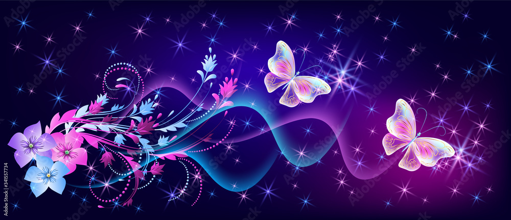 Fototapeta Fantasy fabulous butterflies with mystical flowers ornament and sparkle glowing stars