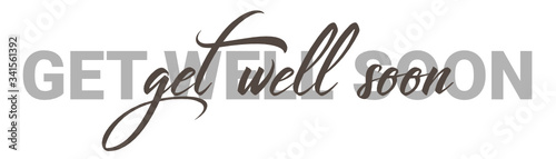 Get well soon Vector brush calligraphy banner, inspirational typography, Thin se Tablou Canvas
