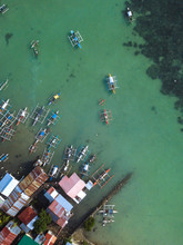Top View Of Coastal Shanty Tow...