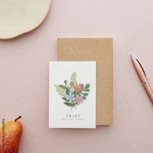 Fototapeta Floral postcard mockup on a pink background obraz
