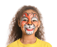 Funny African-American Girl With Face Painting On White Background