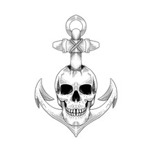 Pirates Skull Anchor. Hand Drawn Illustrations, Can Be Used For Tattoo, T Shirt Design, Decoration, Painting, Posters