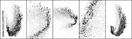 Fototapeta Set of explosion black grainy texture isolated on white background