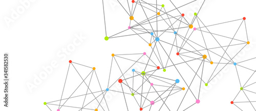 Fototapety, obrazy: Line points connections, triangular technology design. Abstract geometric background