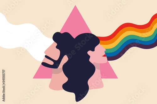 LGBT pride rainbow, equality and self affirmation of lesbian, gay, bisexual, and transgender (LGBT) concept, faces of man and lady on pink triangle prism, light pass show real LGBT rainbow colours Wallpaper Mural