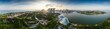 Leinwandbild Motiv Aerial drone view of Singapore business district and city, Business and financial district Modern building in the city center of Singapore on February 2, 2020 in Singapore.