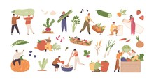 Set Of Various Tiny People With Different Food And Products Isolated On White Background. Collection Of Cartoon Person With Organic Farm Harvest Vegetable, Drink And Meal Vector Graphic Illustration