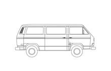 Detailed Circuit Retro, Vintage, Travel, Camper Van, On White Background. Roud Badge Vintage Van Car. Round Sticker Van Life. Vector Eps 10
