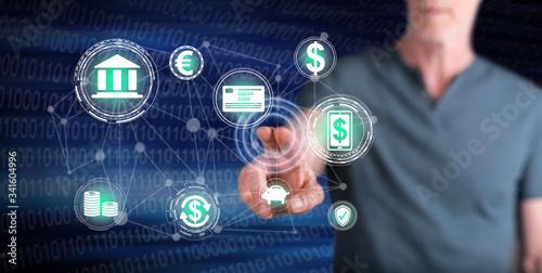 Fototapeta Man touching a mobile banking concept obraz