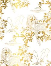 Parrot Bird Temple Mountain Rose Flower Nature Landscape View Vector Sketch Illustration Japanese Chinese Oriental Line Art Ink Seamless Pattern