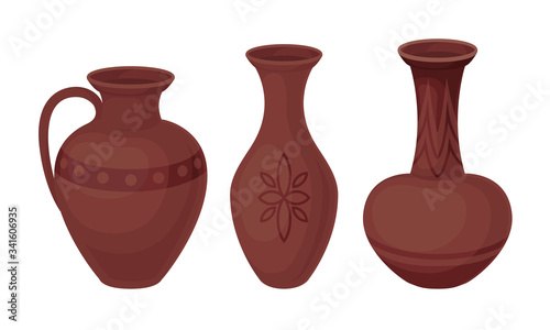Fototapeta Ceramic Pottery or Utensils with Decorative Ornament Vector Set
