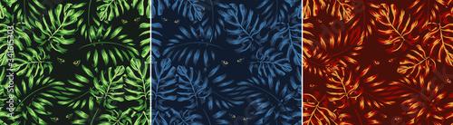 set of jungle patterns shades of natural colors, eyes of a predator, eyes of a p Canvas Print