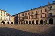 Historic Cavour square in Vercelli, Piedmont, Italy.