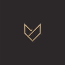 Abstract Luxury Wolf Head Logo Design Template