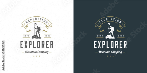 Climber logo emblem outdoor adventure expedition vector illustration mountaineer Wallpaper Mural