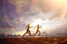 Silhouettes Of Athletes Runnin...