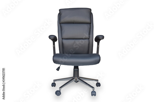 Photo Black leather office chair with black backrest, black seat and handles, on wheels isolated on white background,  with clipping path