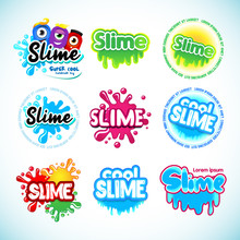 Slime Logotype Templates Set. ...