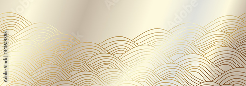 Luxury wallpaper design with Golden wave and natural line arts background Canvas Print