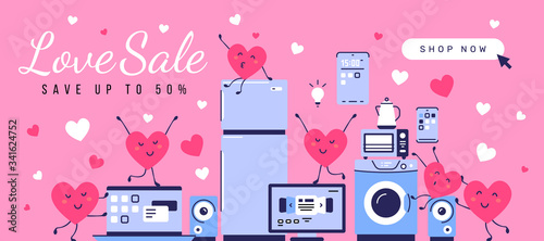 Vector illustration of set of household appliances with happy red heart character Canvas Print