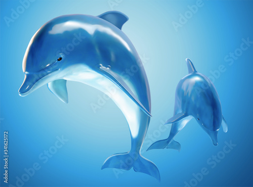 Two jumping bottlenose dolphins Canvas Print