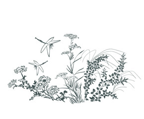 meadow flowers card nature landscape view vector sketch illustration japanese chinese oriental line art design