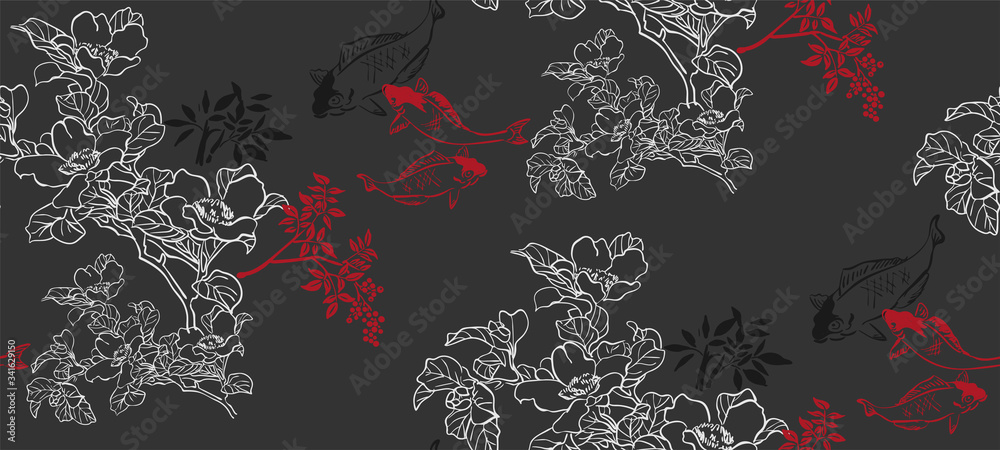 fish koi japanese chinese design sketch ink paint style seamless pattern