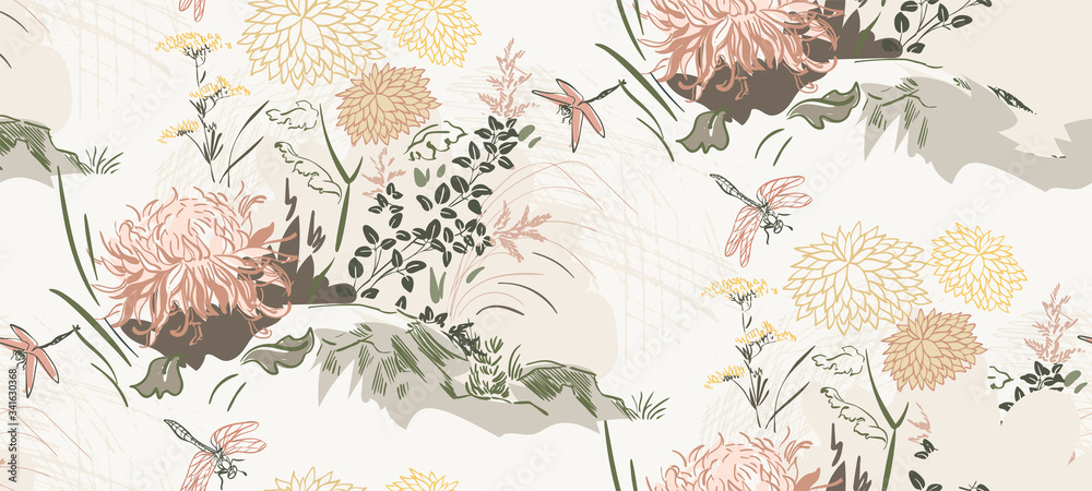 chrysanthemum flowers nature landscape view vector sketch illustration japanese chinese oriental line art ink seamless pattern