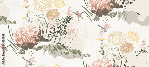 Fototapeta chrysanthemum flowers nature landscape view vector sketch illustration japanese chinese oriental line art ink seamless pattern obraz