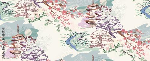 building landscape nature landscape view vector sketch illustration japanese chinese oriental line art ink seamless pattern