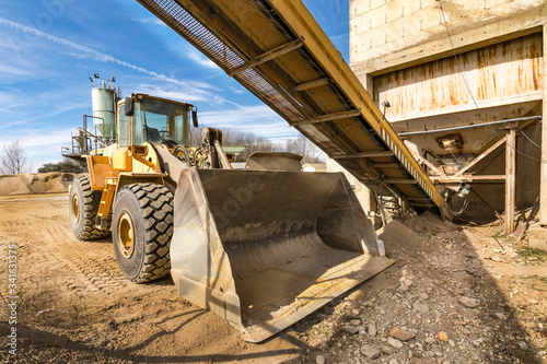 Quarry aggregate with heavy duty machinery. Canvas Print