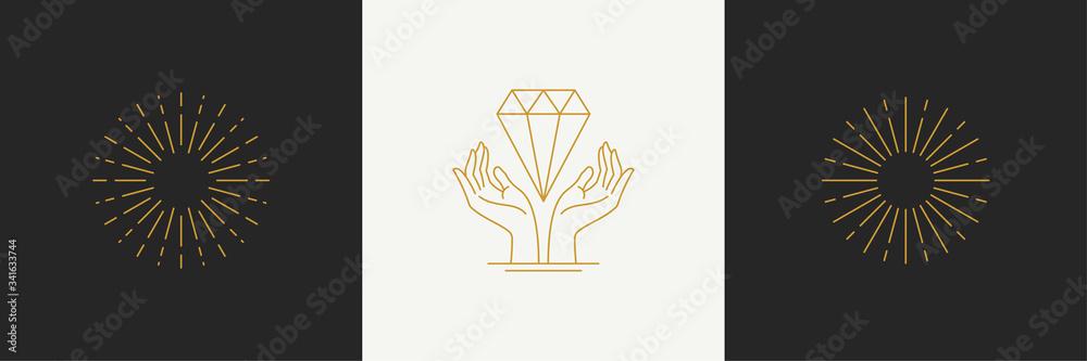 Fototapeta Vector line minimal decoration design elements set - starburst and gesture hands illustrations simple linear style