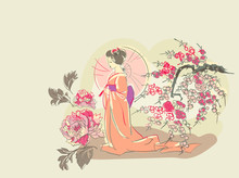 Woman Nature Flower View Vector Sketch Illustration Japanese Chinese Oriental Line Art Ink Card Background