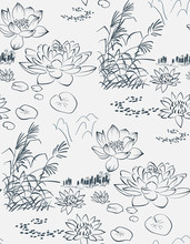 Lotus Pond Sketch Vector Japanese Chinese Design Seamless Pattern