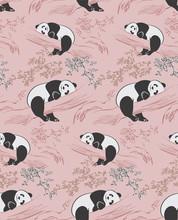 Panda Bear View Vector Sketch Illustration Chinese Oriental Line Art Ink Seamless Pattern