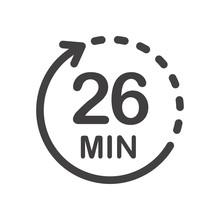 Twenty Six Minutes Icon. Symbo...