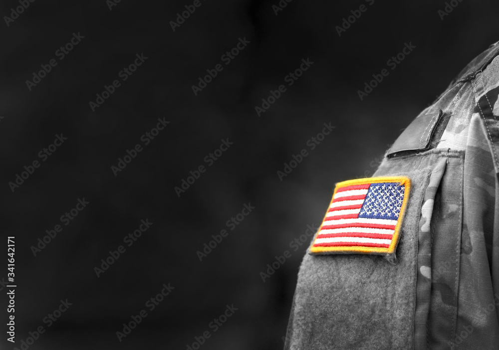 Fototapeta Memorial day. Veterans Day.  American Soldiers Saluting. US Army. Military of USA . empty space for text
