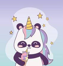 Kawaii Panda With Unicorn Ice Cream Cartoon Character Magical Fantasy
