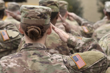 Memorial Day. Veterans Day.  American Soldiers Saluting. US Army. Military Of USA .