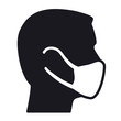 Respiratory protection face mask male head icon