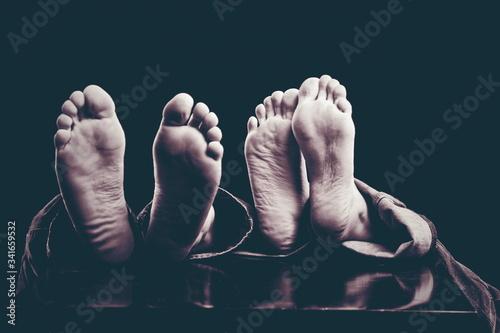 Fotografie, Obraz stopy, kobieta, meszczyzna