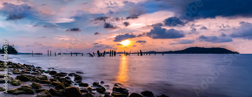 Scenic View Of Sea Against Sky During Sunset Canvas Print