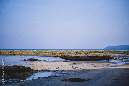 beach and sea during a lowtide in havelock andaman india Canvas Print