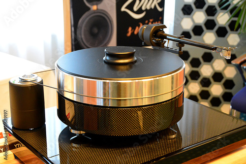 Special audiophile turntable with vinyl record. Canvas Print