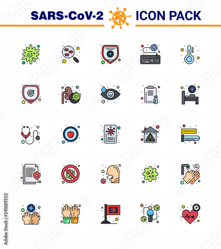 Photo 25 Flat Color Filled Line Coronavirus disease and prevention vector icon healthc