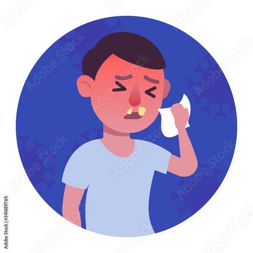 Obraz na plátně Man runny nose colorful pictogram