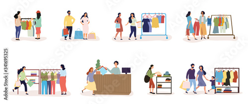 Set of eight designs showing diverse people and a young family shopping in cloth Canvas Print