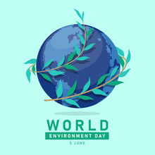 World Environment Day Banner With Vine Leaves Wrapped Around Globe World Vector Design