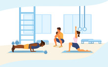 Health And Fitness Concept With Three Diverse People Working Out In A Gym Doing Press-ups, Weightlifting And Yoga, Vector Illustration