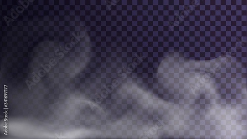 Fotografie, Obraz Vector steam or smoke on a transparent background, clubs of fog